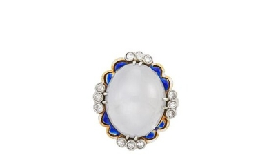 Gold, Platinum, Gray Star Sapphire, Blue Enamel and Diamond Ring