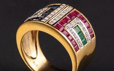 Gold, Sapphire, Ruby, Diamond, Emerald Ring