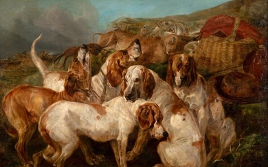 HENRY WEEKES R.A. (BRITISH 1807-1877) HOUNDS ON A HUNT