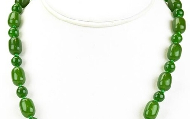 Hand Knotted Green Nephrite Jade Necklace Strand