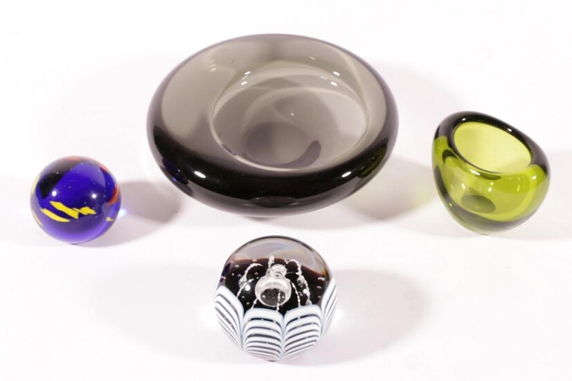 Holmgaard bowl and another together with other art glass items incl. glass candies, and paperweights