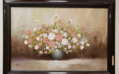 Impasto Flower Vase Oil Painting by Jaro