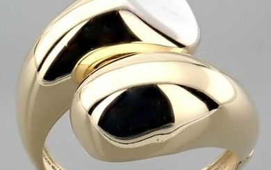 Italian Design Ring. In 14K Yellow and White Gold