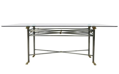 Italianate DIA Steel and Brass Dining Table with Ram's