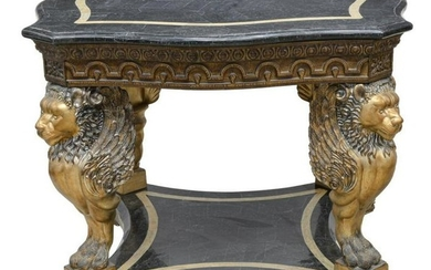 LARGE STONE-TILED TOP CENTER TABLE WINGED LIONS
