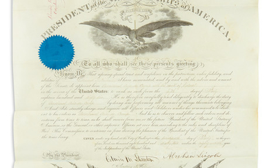 LINCOLN, ABRAHAM. Partly printed vellum Document Signed, as President, military commission appointing Edward G. Beckwith