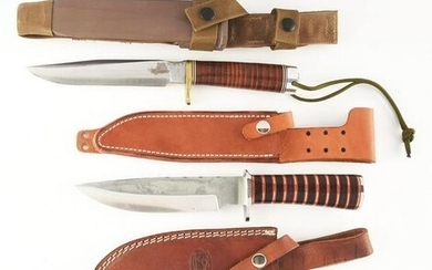 LOT OF 5: CONTEMPORARY FIXED BLADE KNIVES.