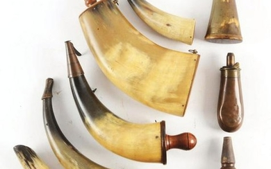 LOT OF 8: POWDER HORNS.