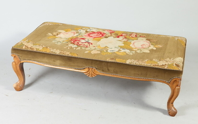 LOUIS XV STYLE FRUITWOOD RECTANGULAR-TOP BENCH WITH FLORAL NEEDLEPOINT UPHOLSTERY....