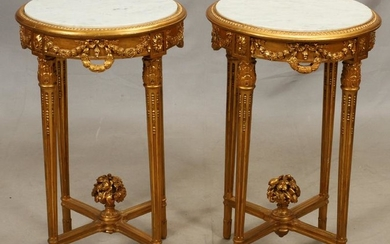 LOUIS XVI STYLE, MARBLE TOP END TABLES, PAIR