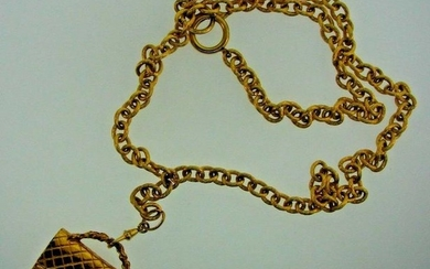 LUXURY Chanel Gold Plated Hangbag Necklace Circa 1980s