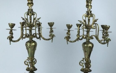 Large pair of bronze and brass five-light candelabra.