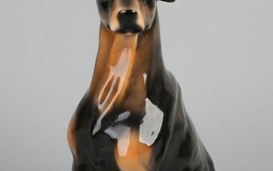Large porcelain glazed hunting dog. Mid 20th century.