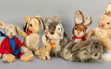 Lot of 8 Steiff Rabbits / Hares. Including Rico