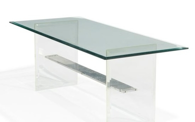 Lucite Aluminum and Glass Coffee Table