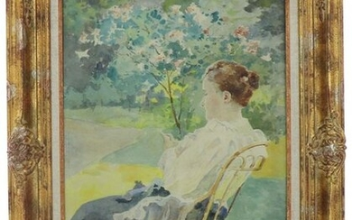 """Ludovic ALLEAUME (1859-1941) """"Woman in the garden"""", watercolour, signed lower right, 54 x 37 cm"""