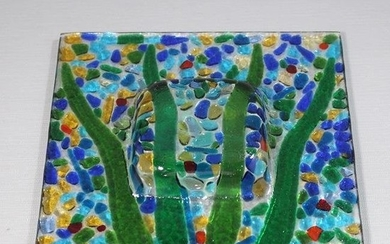Mid-Century Modern Colorful Fused Glass Dish