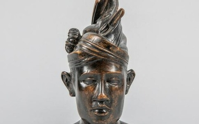 North African Old Carved Wood Bust Figure