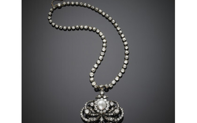 Old mine diamond silver and 18K gold necklace with volute...