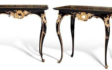 PAIR OF CARVED AND PAINTED SIDE TABLES WITH CHINESE LACQUER PANELS