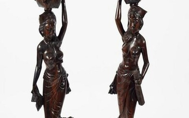 PAIR OF LARGE AFRICAN HARDWOOD FEMALE FIGURES