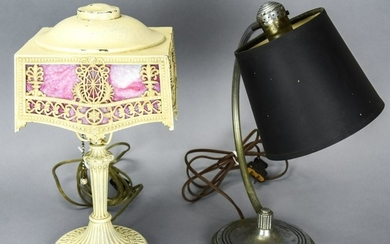 Pair Art Deco Lamps, Includes Chase Chrome Lamp