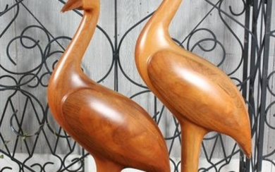 Pair Stylized Carved Wood Waterfowl Figures