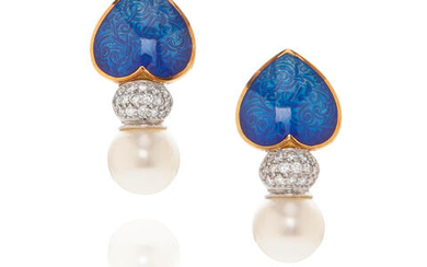 Pair of 18k Gold, Diamond, Cultured Pearl and Blue Enamel Ear Clips
