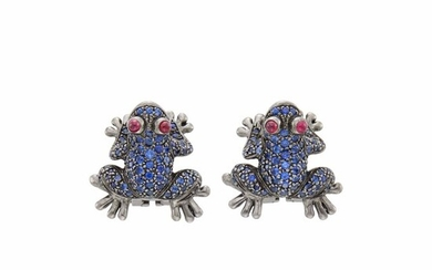 Pair of Blackened Gold, Sapphire and Cabochon Ruby Frog Earrings