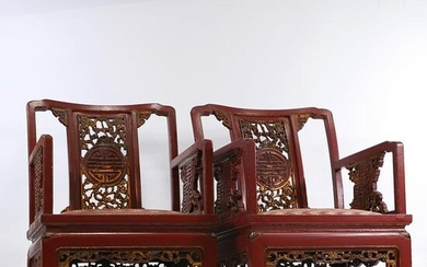 Pair of Early Chinese Lacquered Wood Low Chairs