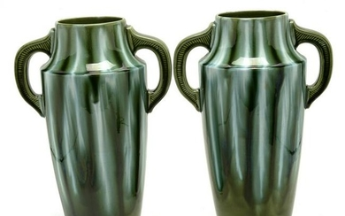 Pair of French Art Deco Faience Double Handled Vases.