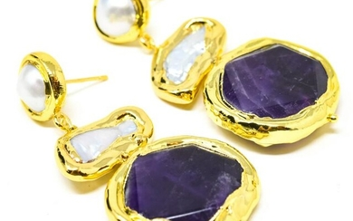Pair of Gold Plated Lapis Lazuli & Pearl Earrings