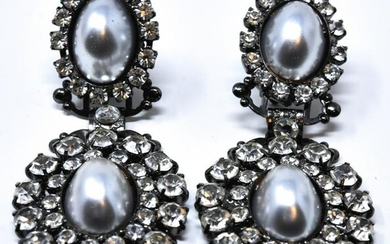 Pair of Gun Metal Faux Pearl & Rhinestone Earrings