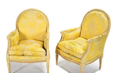 Pair of Louis XVI Style Carved and Painted Bergeres