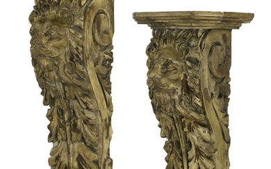 Pair of Painted Wooden Brackets