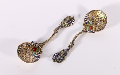 Pair of Swedish silver gilt and enamelled spoons in the mann...