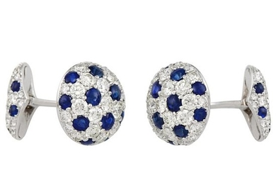 Pair of White Gold, Cabochon Sapphire and Diamond Cufflinks