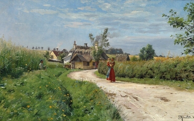 Peder Mønsted: A summer day in the countryside. Signed and dated P. Mønsted 1898. Oil on canvas. 35×58 cm.