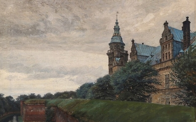 Peter Tom-Petersen: Scenery with Kronborg Castle. Signed Tom-Petersen. Oil on canvas. 58×77 cm.