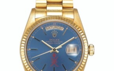 ROLEX, GOLD DAY-DATE, REF. 18038 - MADE FOR THE SULTANATE OF OMAN, CASE NO. 9'379'810