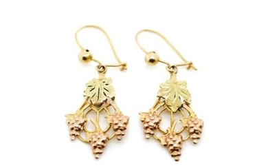 Rose and yellow gold earrings in a vine and leaf cast patter...