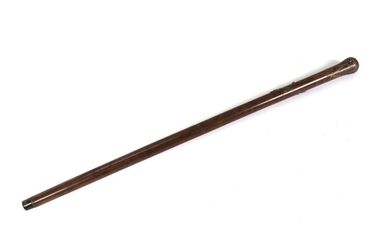 Russian walking stick decorated with silver inlays with design and cyrillic letters. C. 1900. L. 93 cm.
