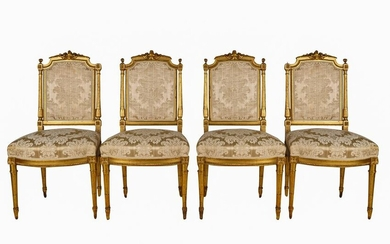 SET OF FOUR LOUIS XVI STYLE GILTWOOD DINING CHAIRS