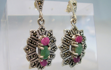EMERALD - RUBIN EARRINGS WITH MARSASITES.