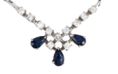 Sapphire-brilliant necklace WG 585/000 with 3 fac. Sapphire...