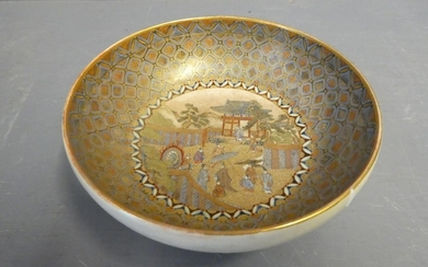 Satsuma dish with gold ground with temple scene 16 cm dia