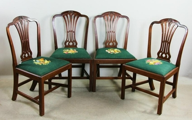Set of 19thC English Chippendale Chairs