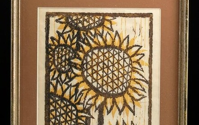 Signed Hutsaliuk Print, 1970s - Sunflowers