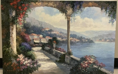 Signed Oil Painting of a Mediterranean Village