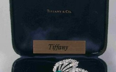 Signed Tiffany & Co. diamond and emerald brooch 18ktw